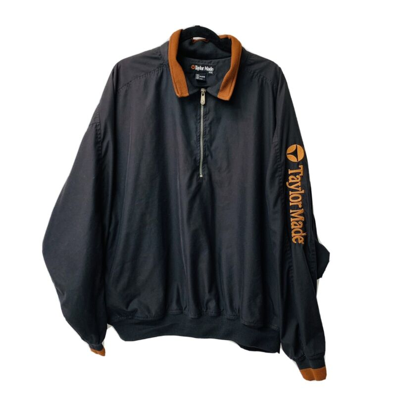 Taylor Made 1/4 Zip Golf Windbreaker Jacket Black/Orange Trim SIZE XXL Pre-Owned
