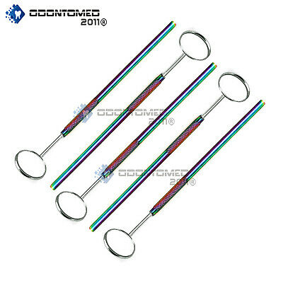 5 Dental Mouth Mirror Rainbow Handles Oral Examination Tooth Inspection Hygiene