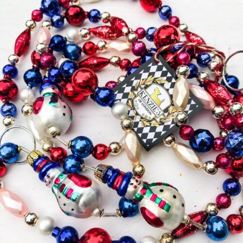 NYC Vintage Snowman Czech Blown Mercury Glass Christmas Garland