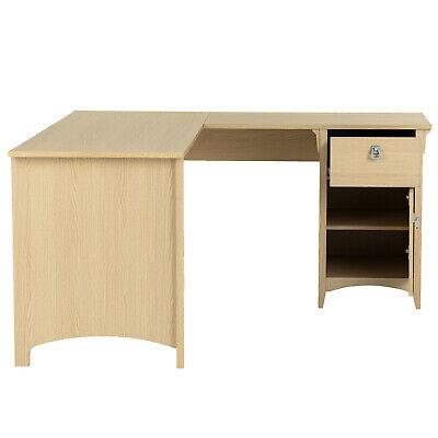 L-shaped Computer Desk Wood Table Pc Laptop Corner Workstation W Drawer Cabinet