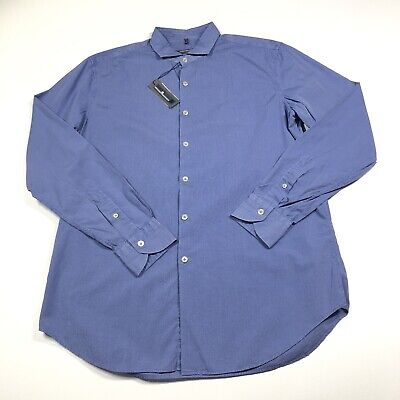 Alessandro Gherardi Men Button Down Dress Shirt Size 41 Blue New