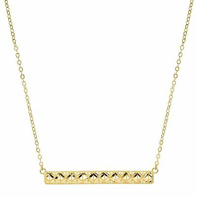 Just Gold Horizontal Textured Bar Necklace in 10K Gold