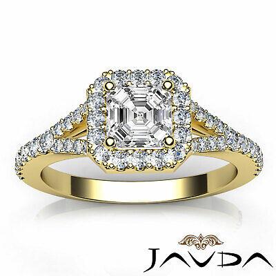 French Set Pave Split Shank Halo Asscher Diamond Engagement GIA G VVS2 Ring 1 Ct 10