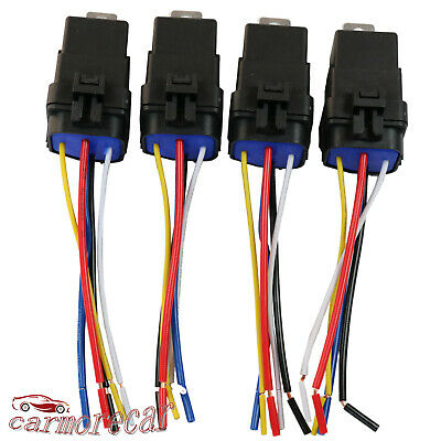 4 Pack 5 Pin Wire Heavy Duty Car Auto Relay 12v 40 Amp Waterproof Plug Socket