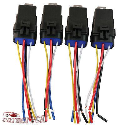 4 Pack 5 Pin Wire Heavy Duty Car Auto Relay 12v 40 Amp Waterproof Plug Socket
