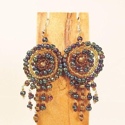 Wholesale Lot 6 PCS Handmade Beaded Dreamcatcher Earrings 6 DARK COLORS