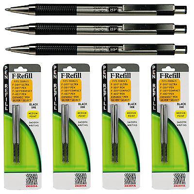 Zebra F-301 Pens With Refills Black Ink 1.0 Mm Medium Point 7 Piece Set