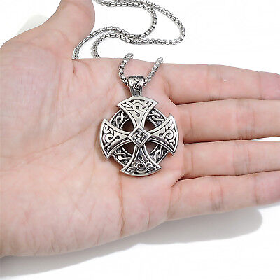 Mens Boys Stainless Steel Pendant Chain Silver Celtic Solar Cross Necklace - Boys Cross Necklaces