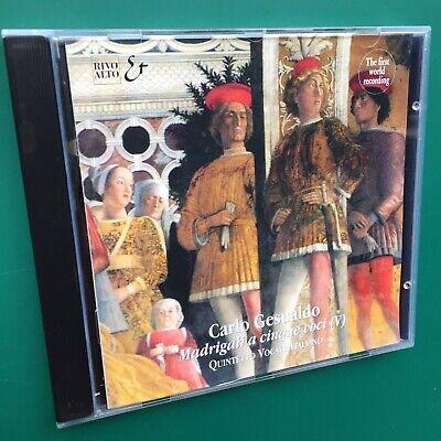 Rare Gesualdo MADRIGALI A CINQUE VOCI (V) Renaissance Classical GOLD CD Remaster