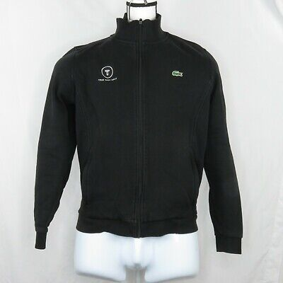 Lacoste Sweater Fleece Track Jacket Men's Size XL Black Coat True Spec Golf