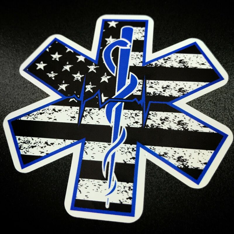 STAR OF LIFE American Flag w Rod of Asclepius Sticker