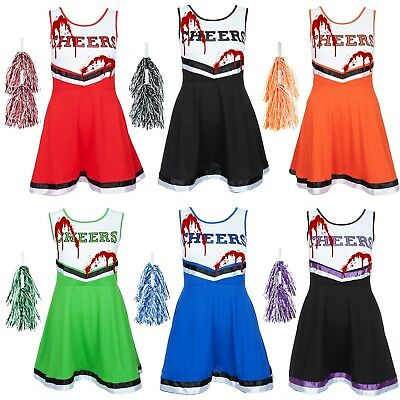 ZOMBIE CHEERLEADER FANCY DRESS HALLOWEEN ADULT BLOOD VAMPIRE COSTUME + POM POMS - Cheerleader Dress Up Costume