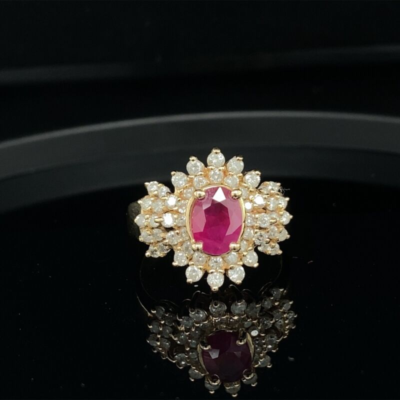 EFFY 14K Yellow Gold Ruby & White Diamond Cocktail Ring $3200