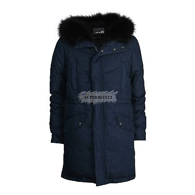 YVES SALOMON HOMME RABBIT FUR DOWN DENIM PARKA w/ RACCOON HOOD FUR FREE SHIPPING
