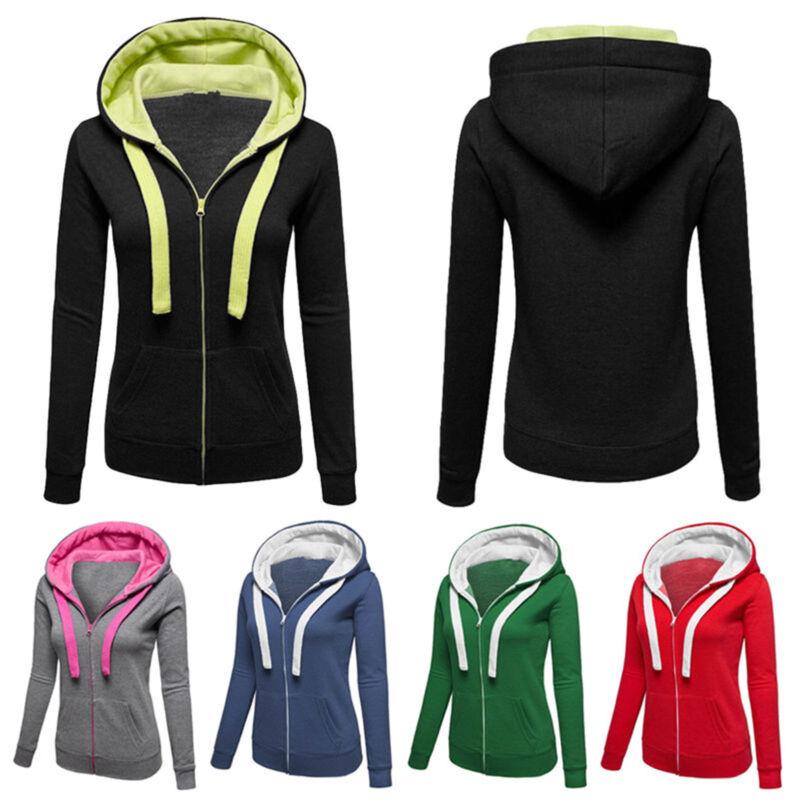 Winter Plain Zip Up Fleece Hoody Women Sweatshirt Coat Jacket Top Hoodies 4-14 2