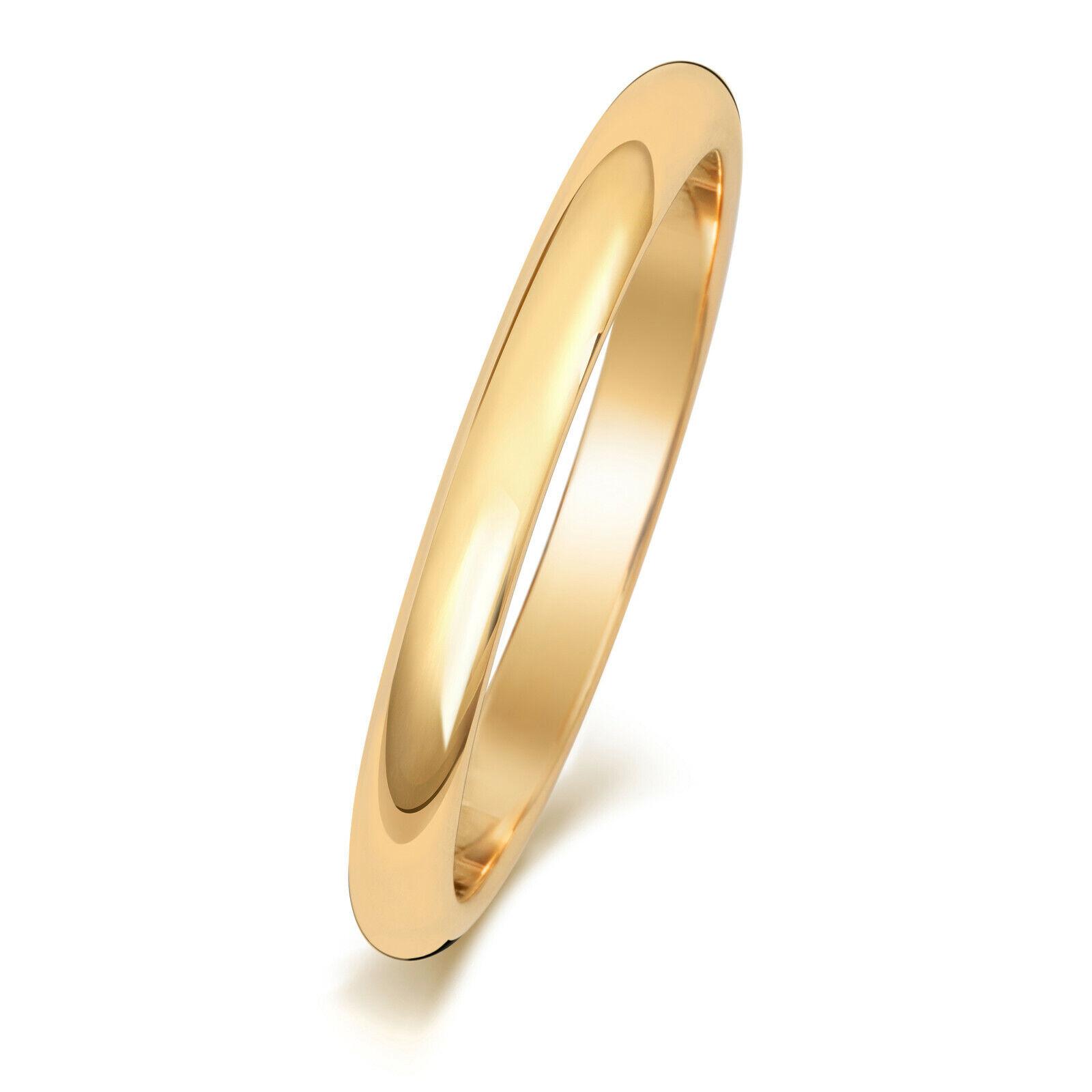 Details Zu 9ct Gold Hochzeit Ring Gelb 2mm D Form Damen Herren Pl Ehering Gratis Gravur Box