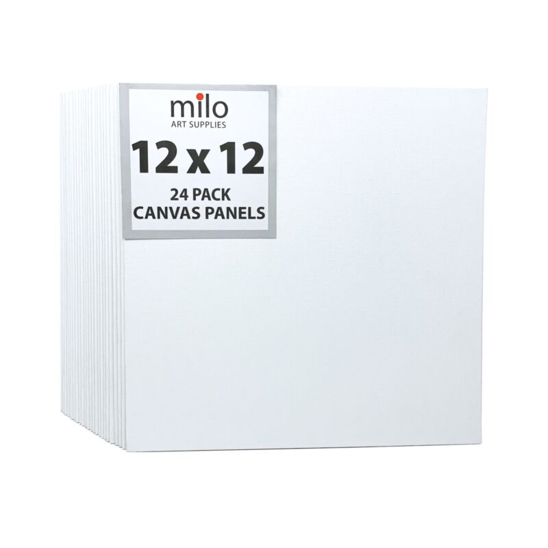 milo Canvas Panel Boards for Painting | 12x12 inches | 24 Pack