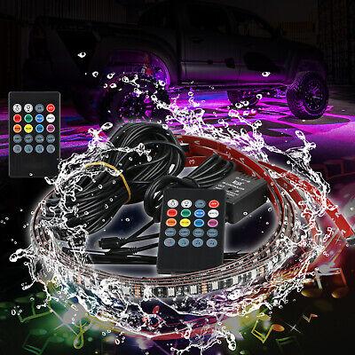 RGB 48 LED Strip Under Car Tube Underglow Underbody System 4Pcs Neon Lights Kit 6