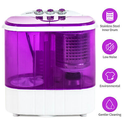 10 LBS Portable Mini Wash Machine Compact Twin Tub Washer Dryer Spinning Purple