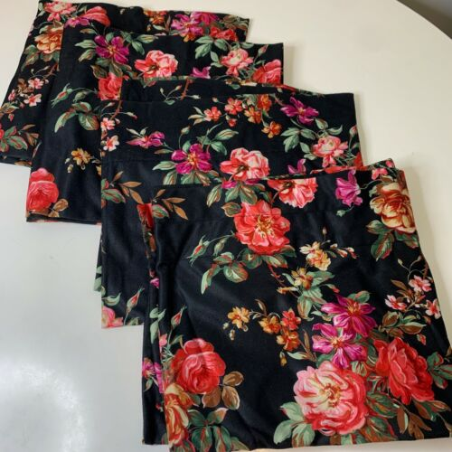 curtain valance set 4 black with red pink floral print 58x13
