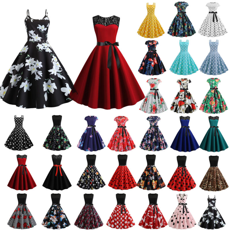 Damen Rockabilly Hepburn Petticoat 50er Jahre Retro Freizeit Party Skaterkleider