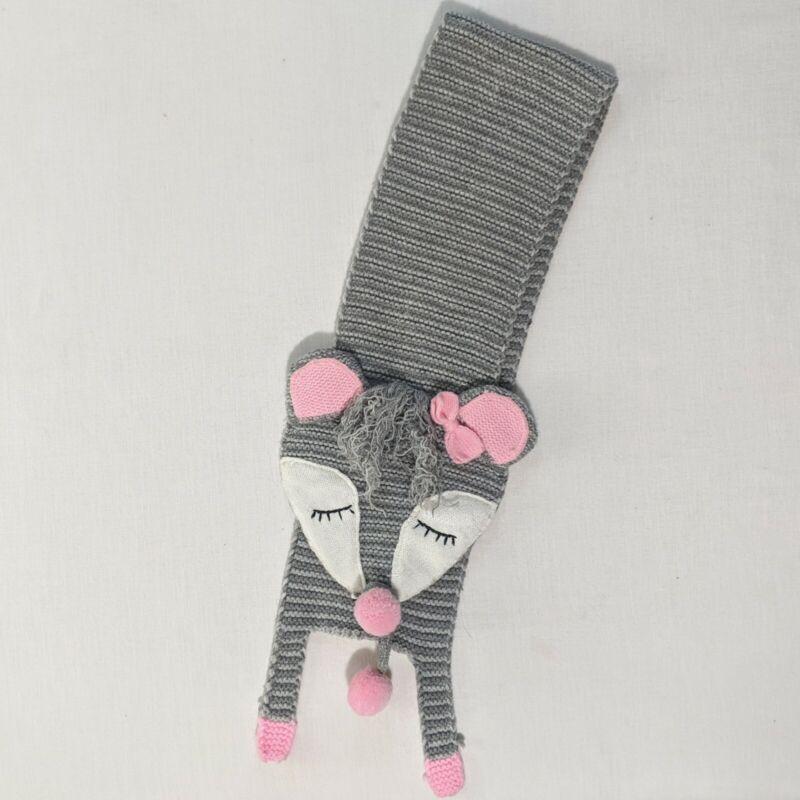 Mud Pie Toddler Girls Gray Pink Knit Racoon Scarf Wrap