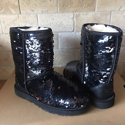 UGG Classic Short Black Sparkles Sequin Sheepskin Boots Size US 5 Womens](Sequin Womens Boots)
