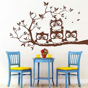 10389 wandtattoo loft hiboux chouette sur branche arbre faune uhu owl ebay. Black Bedroom Furniture Sets. Home Design Ideas