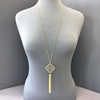 Gold Finished Long Chain Clover Shape Sliding Pendant Chain Tassel Necklace