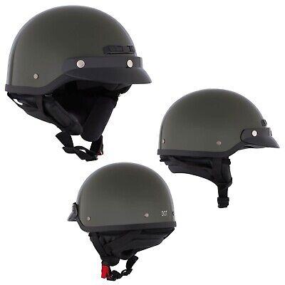 Motorcycle Half Helmet Open Face Green Medium CKX VG-500 DOT BEST