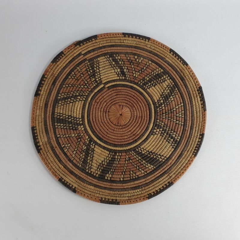 "Hausa Nigeria Native Tribal Woven Tray 12.5"" Vintage"