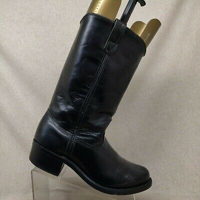 Double H Black Leather Cowboy Western Boots Mens Size 9 EE Style 1620