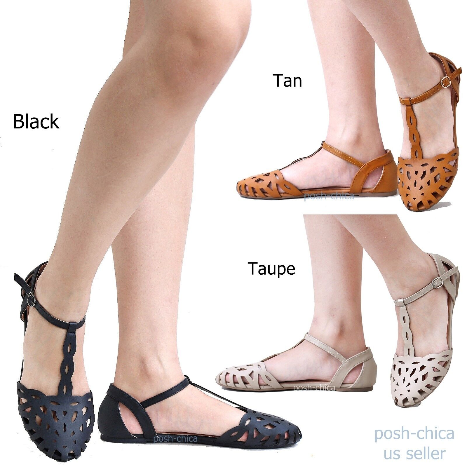 New Women Fb67 Black Tan Taupe Caged  Cutout T-Strap Ballet Flat Sandals