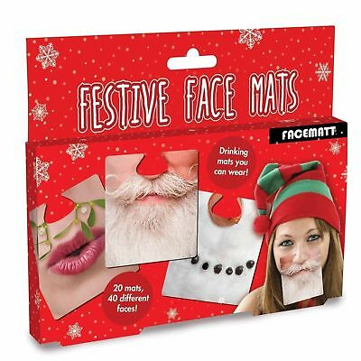 20 Double Sided Party Face Mats Drinks Beer Face Coaster Novelty Fun Xmas Gift