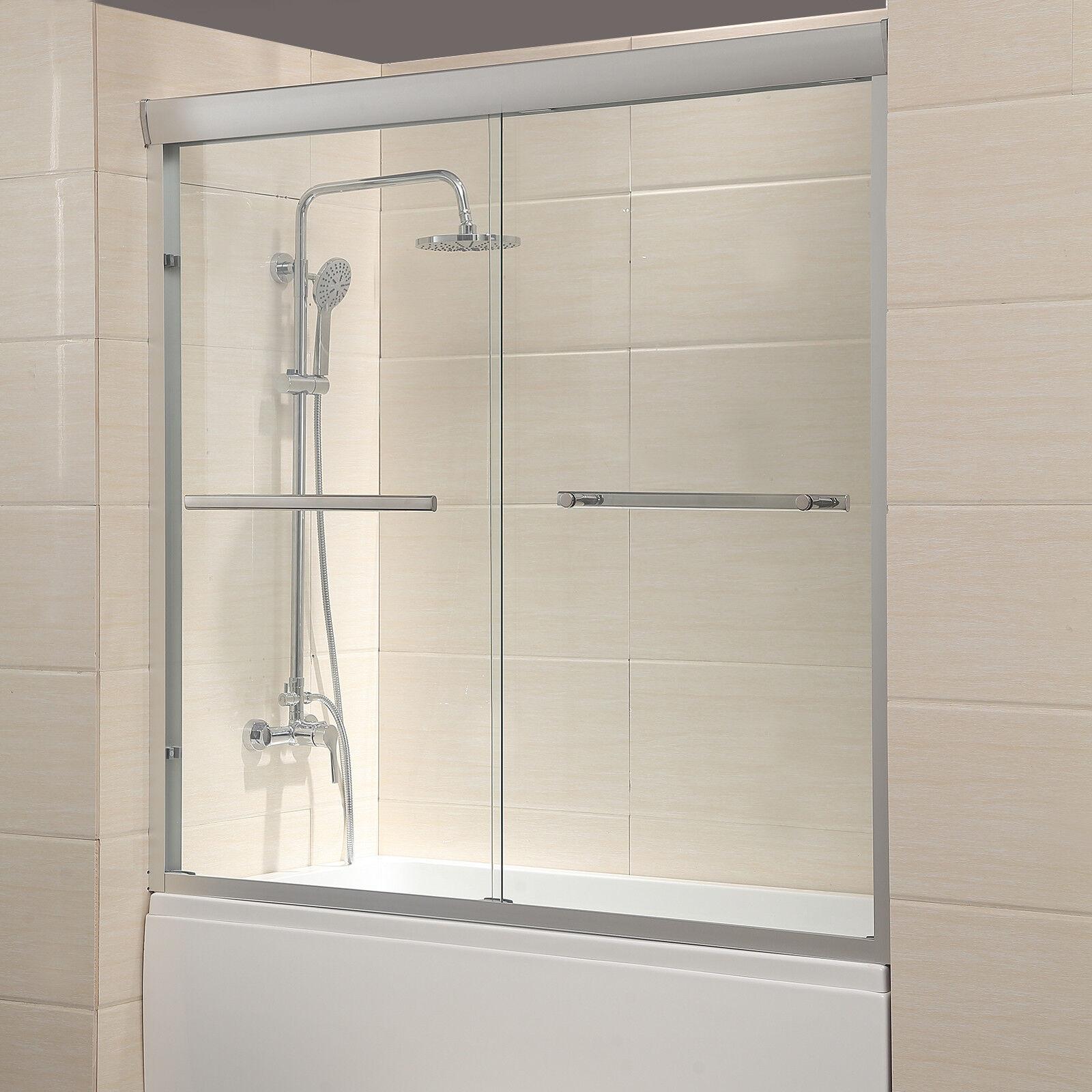 60 Framed 2 Sliding 14 Clear Glass Bath Shower Door Brushed