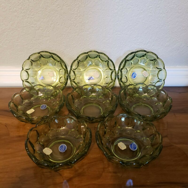 Vintage 8 Imperial Glass Provincial Verde Green Berry Dessert Bowls Free ship!