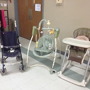 Stroller, swing and high chair