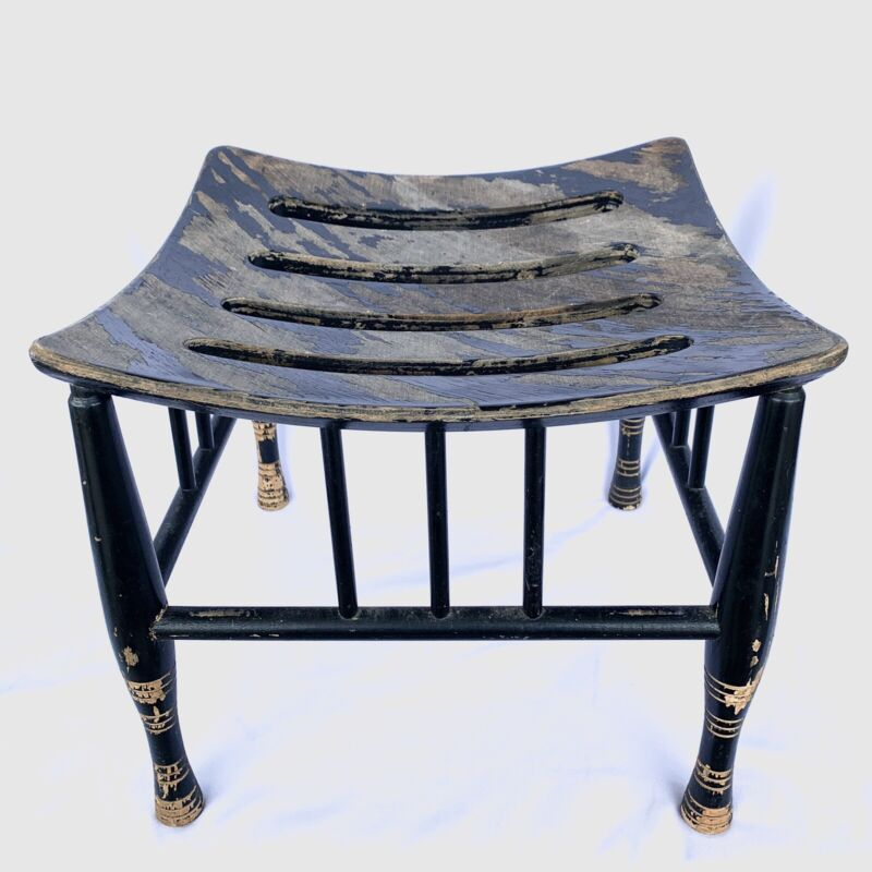 Vintage Arts Crafts Egyptian Thebes Stool Black Rounded Slats