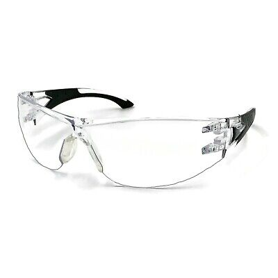 Clear Lens Safety Glasses Anti-fog Protective Indoor Outdoor Rubber Temples
