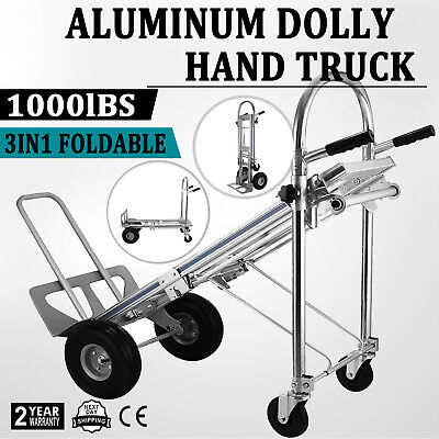 3 In 1 Aluminum Hand Truck Dolly Cart Foldable 2 Or 4 Wheel 1000lbs Heavy Duty
