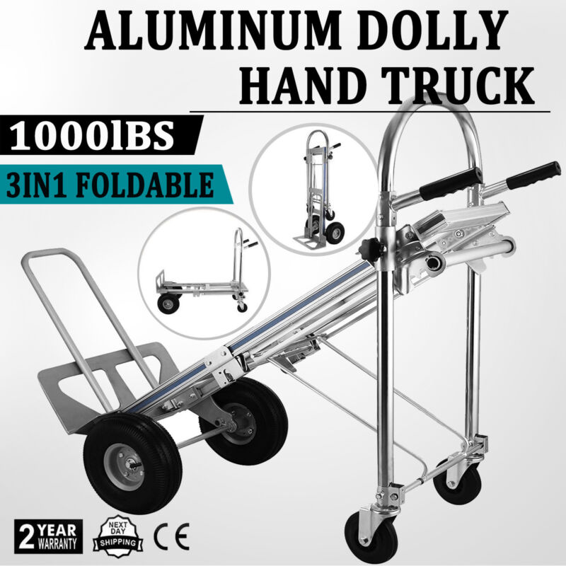 3 in 1 Aluminum Hand Truck Convertible 4-Wheel Utility Cart MAX 1000LBS Capacity