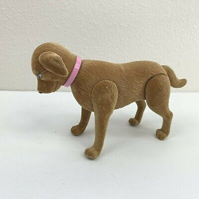 "Flocked Dog Doll Pet Dog Posable Bobblehead 4"" tall textured Doll House Dog"