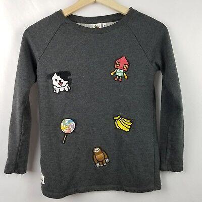 Toca Boca Youth Shirt Size 7 8 Gray Embroidered Fun Long Sleeve Sweatshirt
