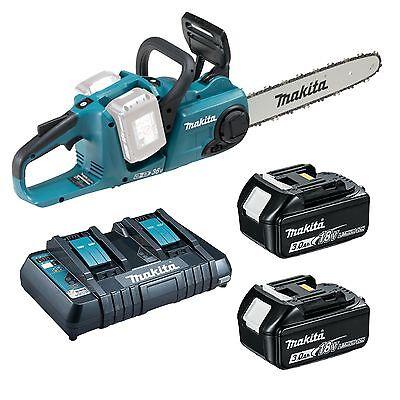 Makita Chainsaw Kit; DUC353Z w/ 2x 5Ah Batteries & Twin Port Charger Kit W/2 Batterien