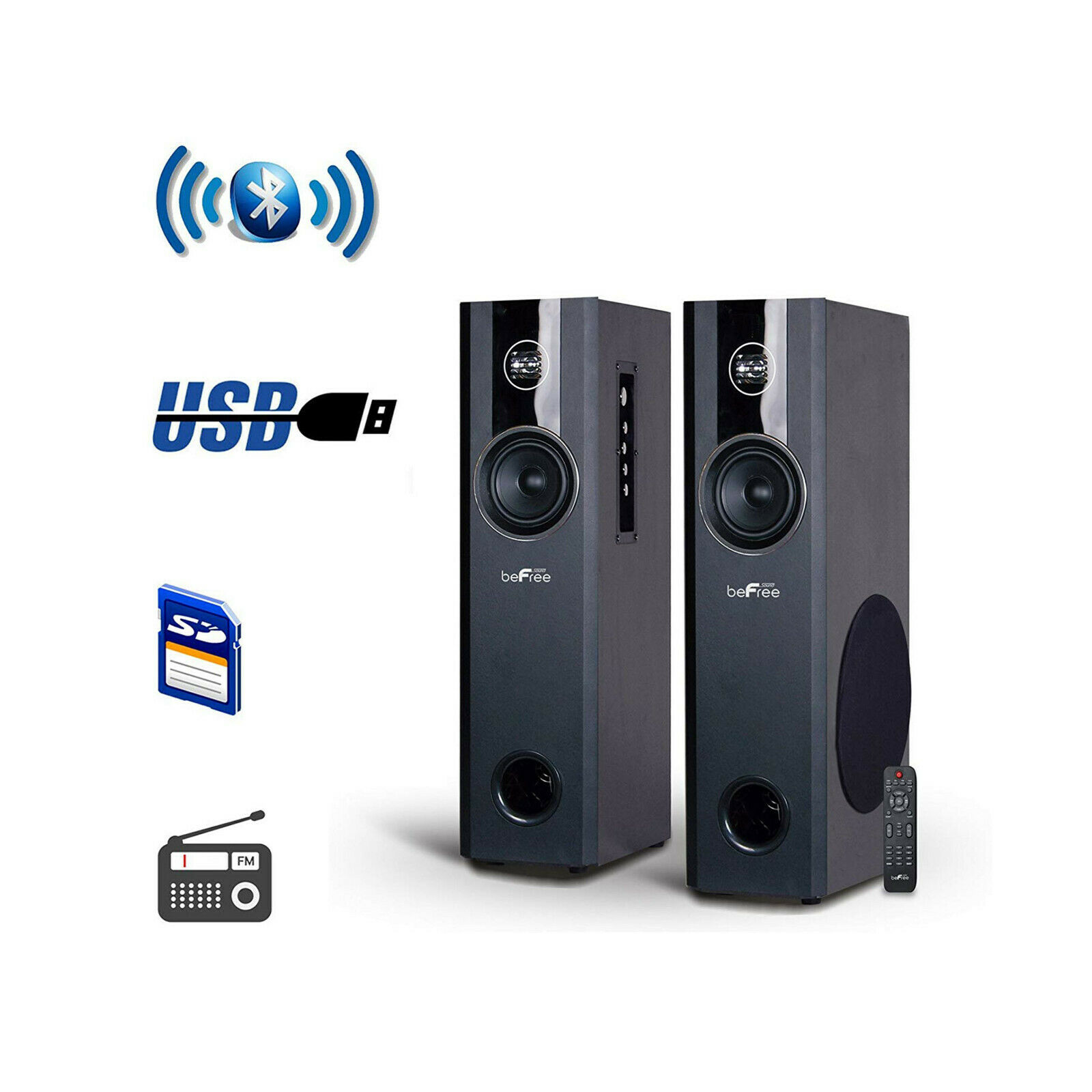 2.1CH BLUETOOTH POWERED TOWER SPEAKERS FM RADIO USB MP3 PLAY