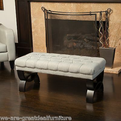Living Room Furniture Light Brown Tufted Fabric Ottoman Bench w/ Crossed Legs