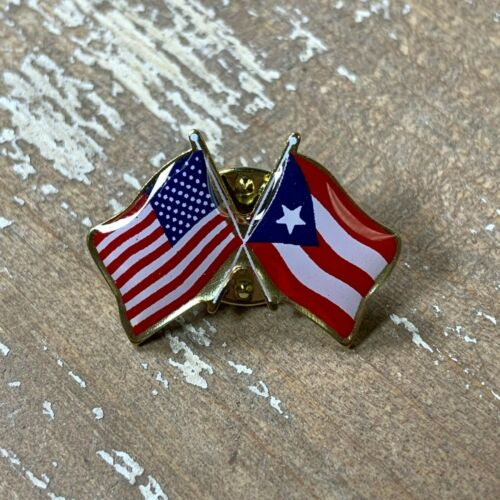Puerto Rico Flag and U.S. Flag Double Waving Lapel Hat Tie Pin - Made in USA