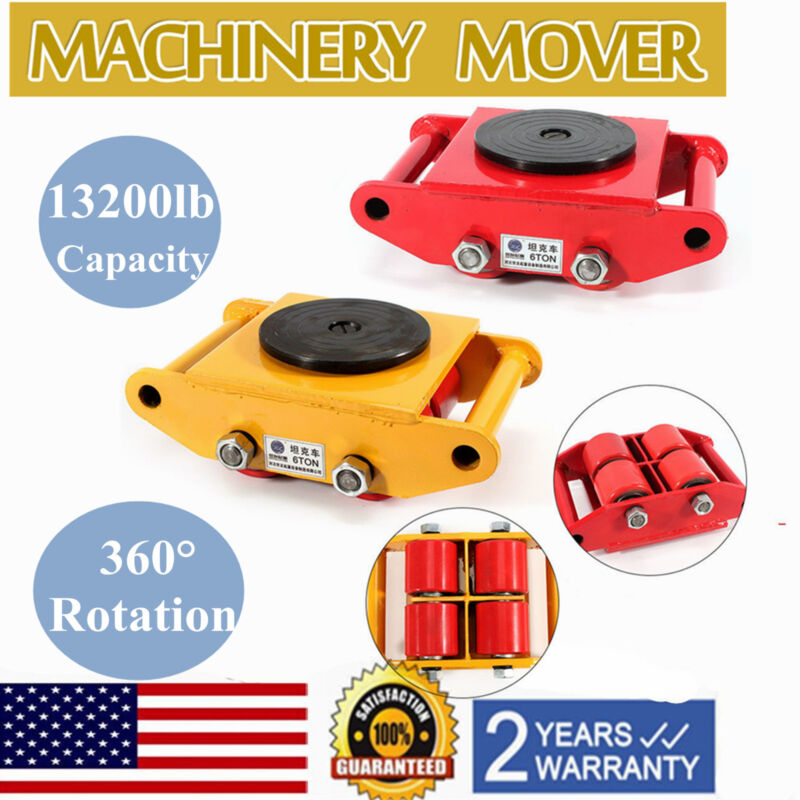 6T Heavy Duty Machine Dolly Skate Roller Machinery Mover 360° Rotation 2 Colors