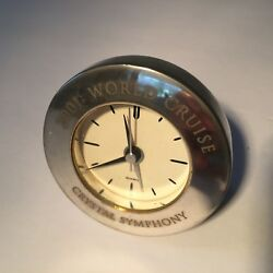 WORLD CRUISE CRYSTAL SYMPHONY Quartz Brass Silver Plated Travel Alarm Clock 2001