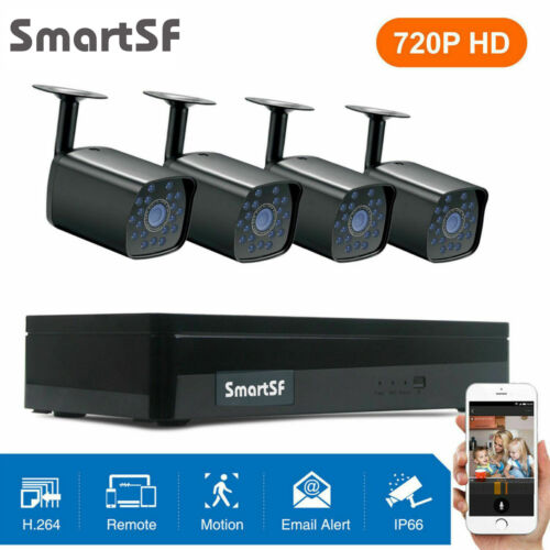 SmartSF 4CH 1080P DVR Outdoor Home 720P Security Camera System HD CCTV Recorder